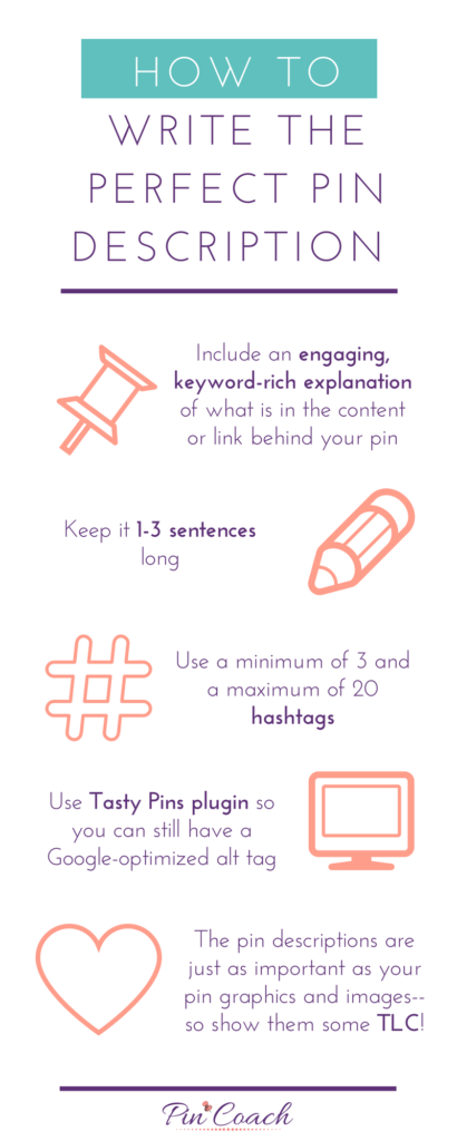 Here are the Pin Coach's top tips for writing pin descriptions.